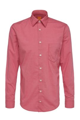 'EnameE' | Slim Fit, Cotton Printed Button Down Shirt, Red