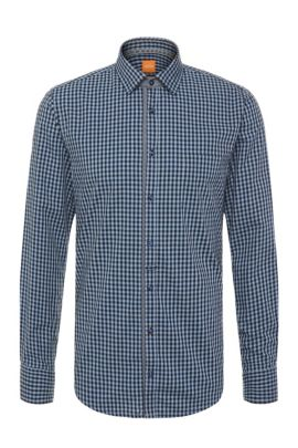 'EslimE' | Extra Slim Fit, Printed Cotton Button Down Shirt , Dark Blue