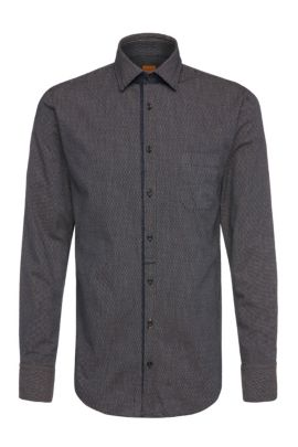 'EslimE' | Extra Slim Fit, Printed Cotton Button Down Shirt, Dark Blue