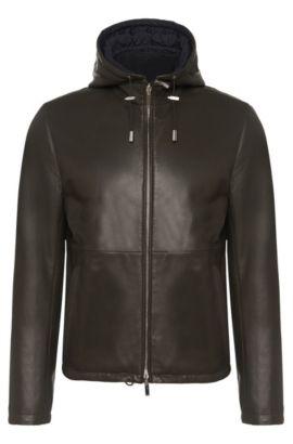 'Driffis' | Lambskin Reversible Jacket, Detachable Hood, Khaki