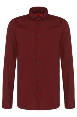 Micro-Houndstooth Cotton Dress Shirt, Extra-Slim Fit | Erondo, Dark Red