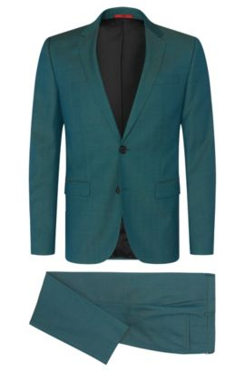 Birdseye Virgin Wool Suit, Slim Fit | Astian/Hets, Green