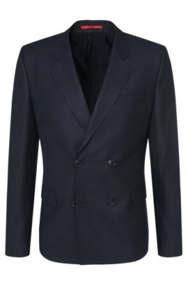 'Andru' | Slim Fit, Virgin Wool Double Breasted Sport Coat, Dark Blue