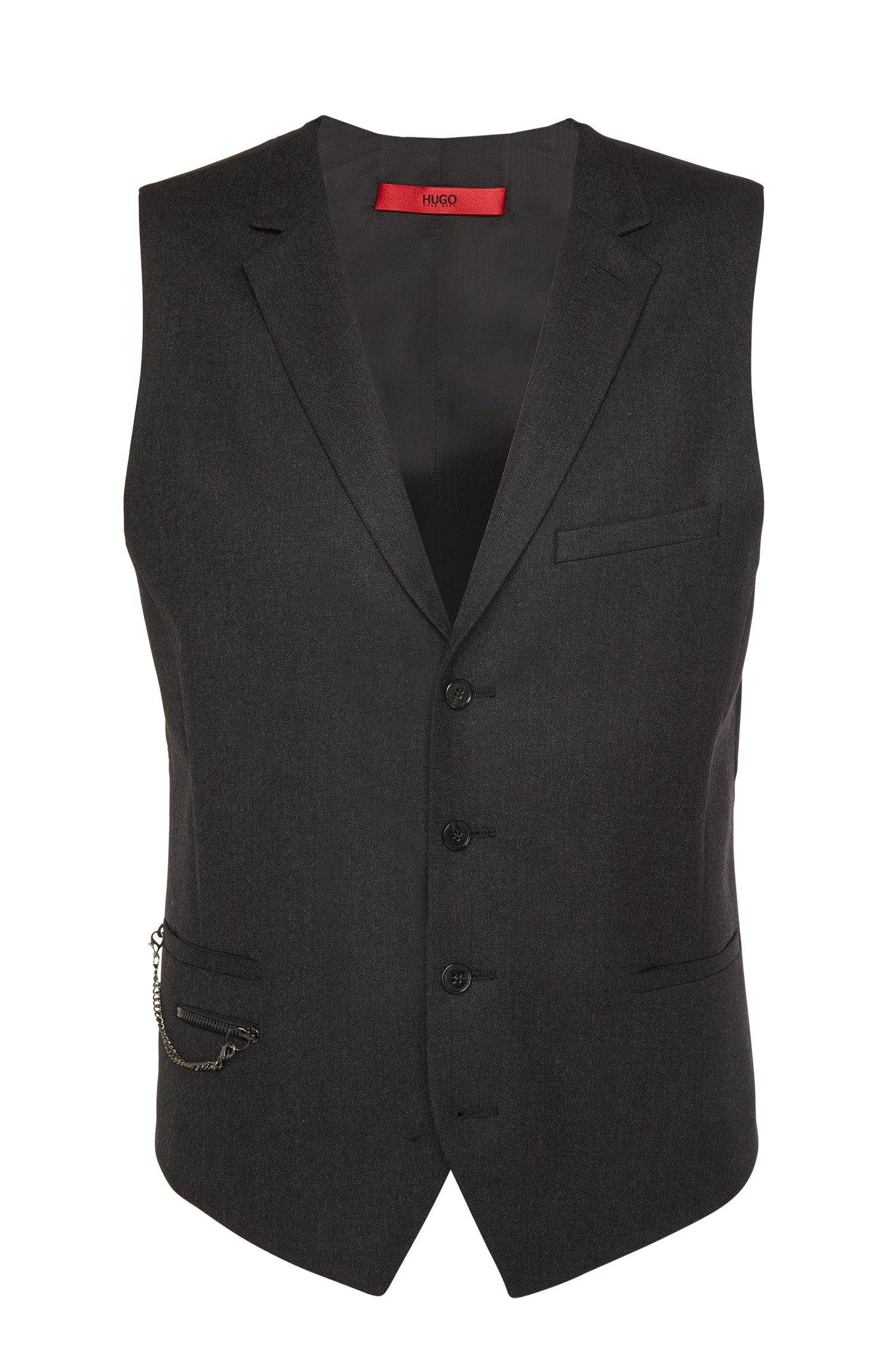 'Wyll' | Slim Fit, Virgin Wool Chain Detail Vest