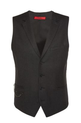 'Wyll' | Slim Fit, Virgin Wool Chain Detail Vest, Charcoal