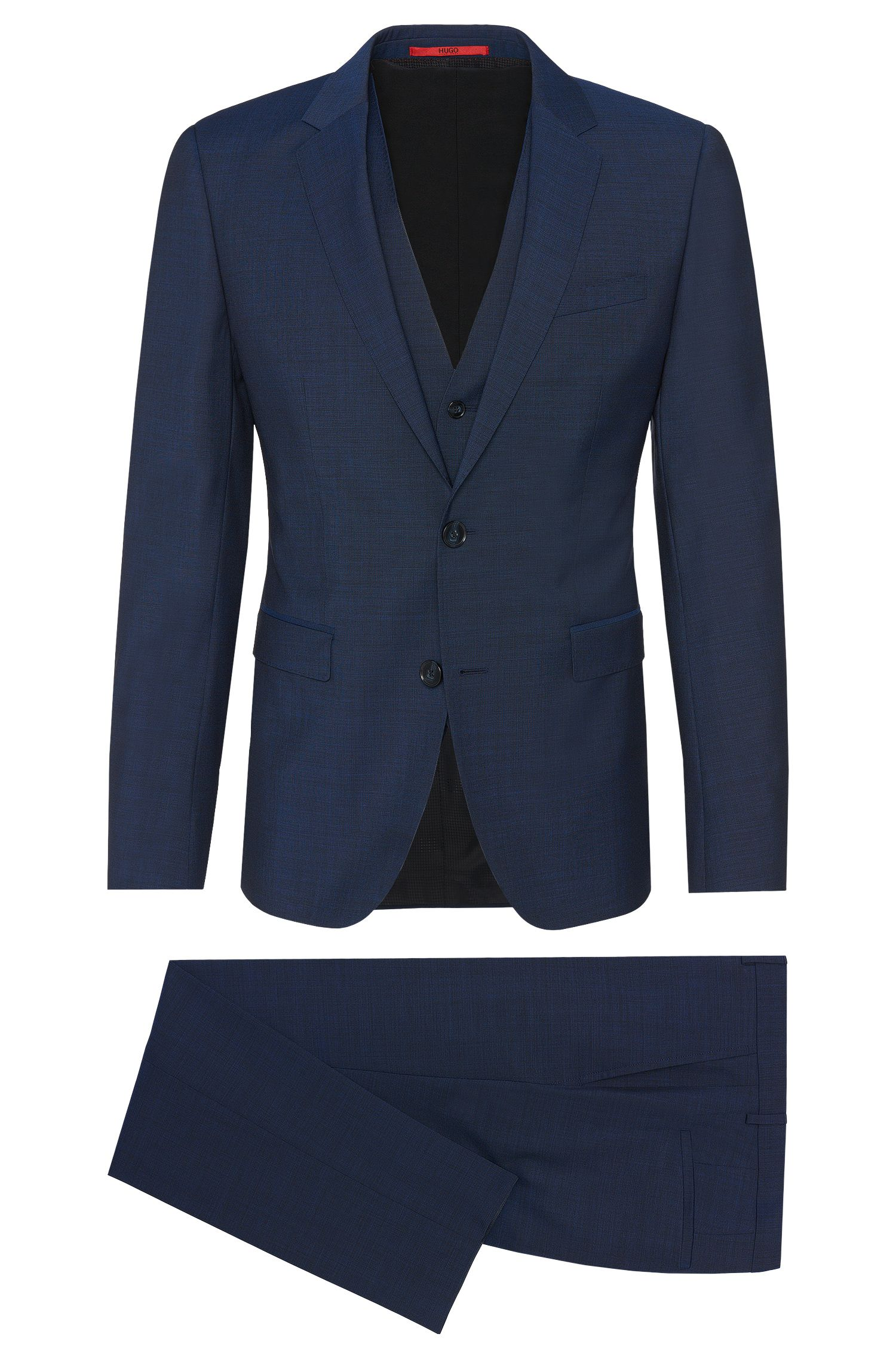 'Adwart/Wilard/Hets' | Slim Fit, Italian Super 100 Virgin Wool 3-Piece Suit