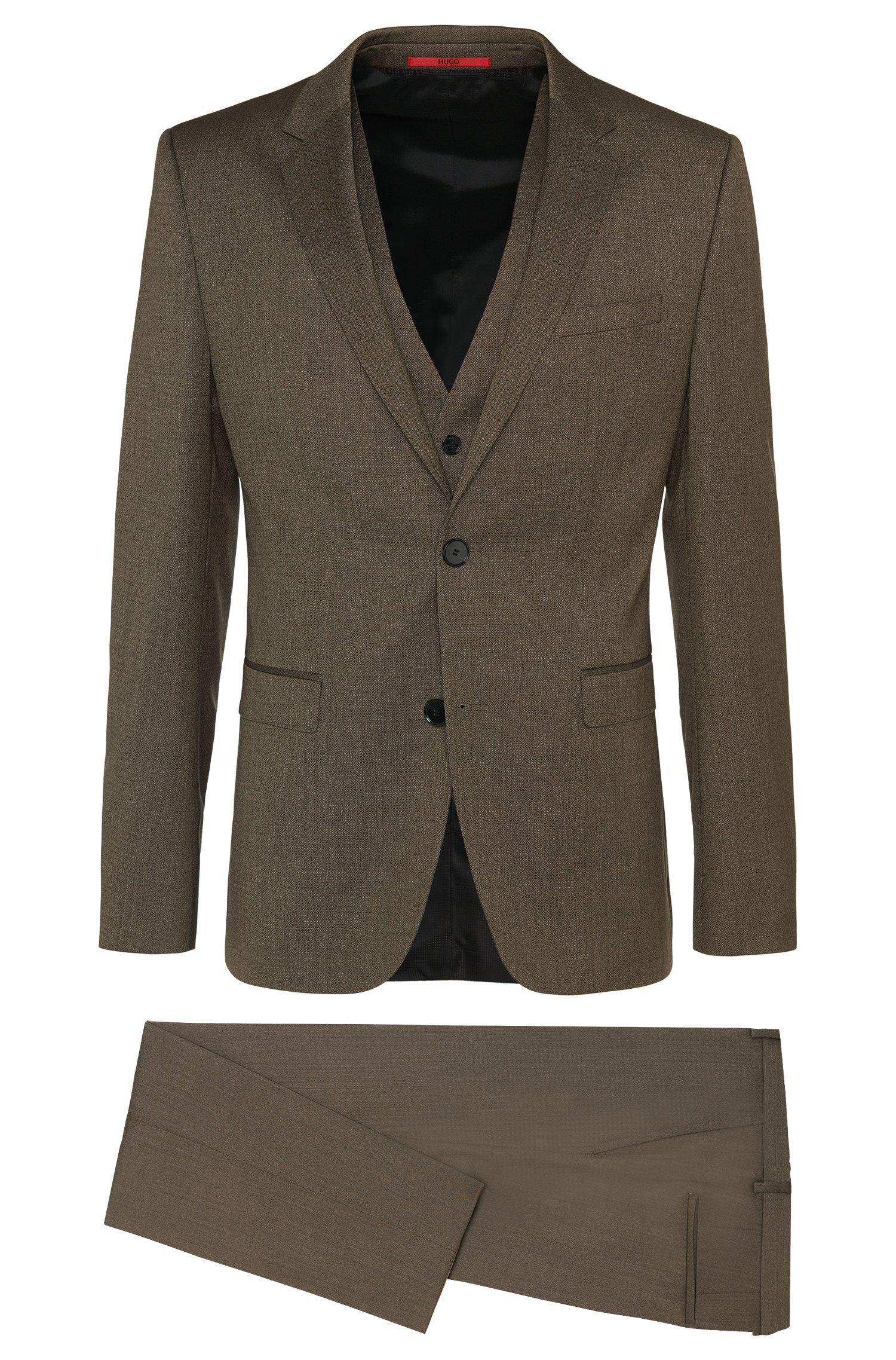 'Adwart/Wilard/Hets' | Slim Fit, Virgin Wool Patterned 3-Piece Suit