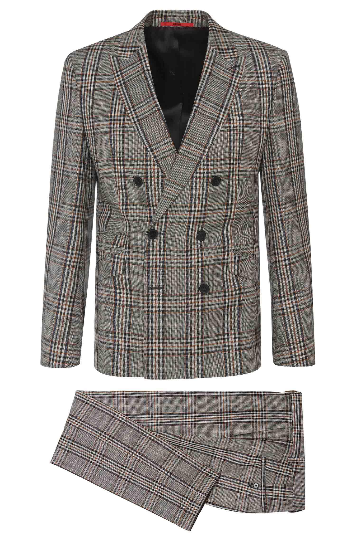 Plaid Virgin Wool Double-Breasted Suit, Slim Fit | Allin/Harlith