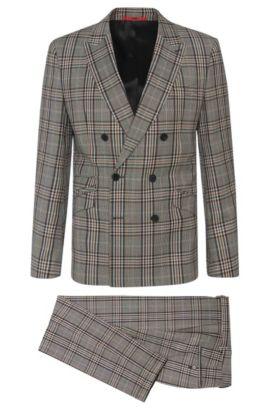 Plaid Virgin Wool Double-Breasted Suit, Slim Fit | Allin/Harlith, Grey