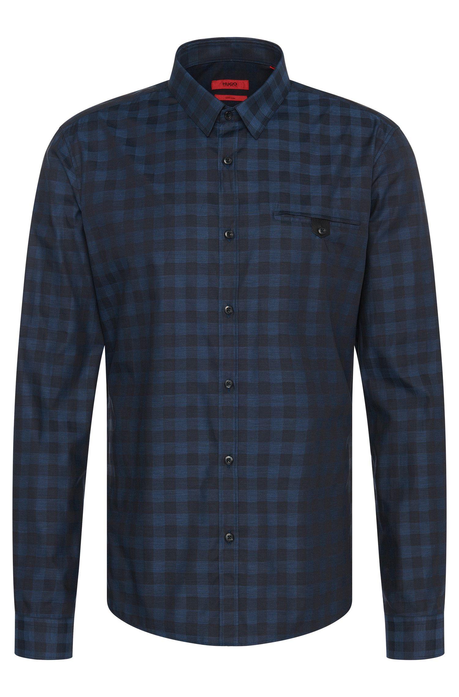 'Ewaldo' | Slim Fit, Cotton Melange Gingham Button Down Shirt