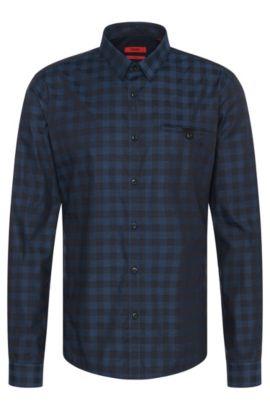 'Ewaldo' | Slim Fit, Cotton Melange Gingham Button Down Shirt, Dark Blue