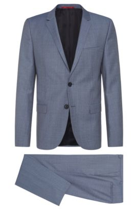 Heather Virgin Wool Suit, Slim Fit | Arti/Helion, Turquoise