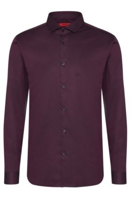 2-Ply Cotton Dress Shirt, Slim Fit | Erondo, Dark Purple
