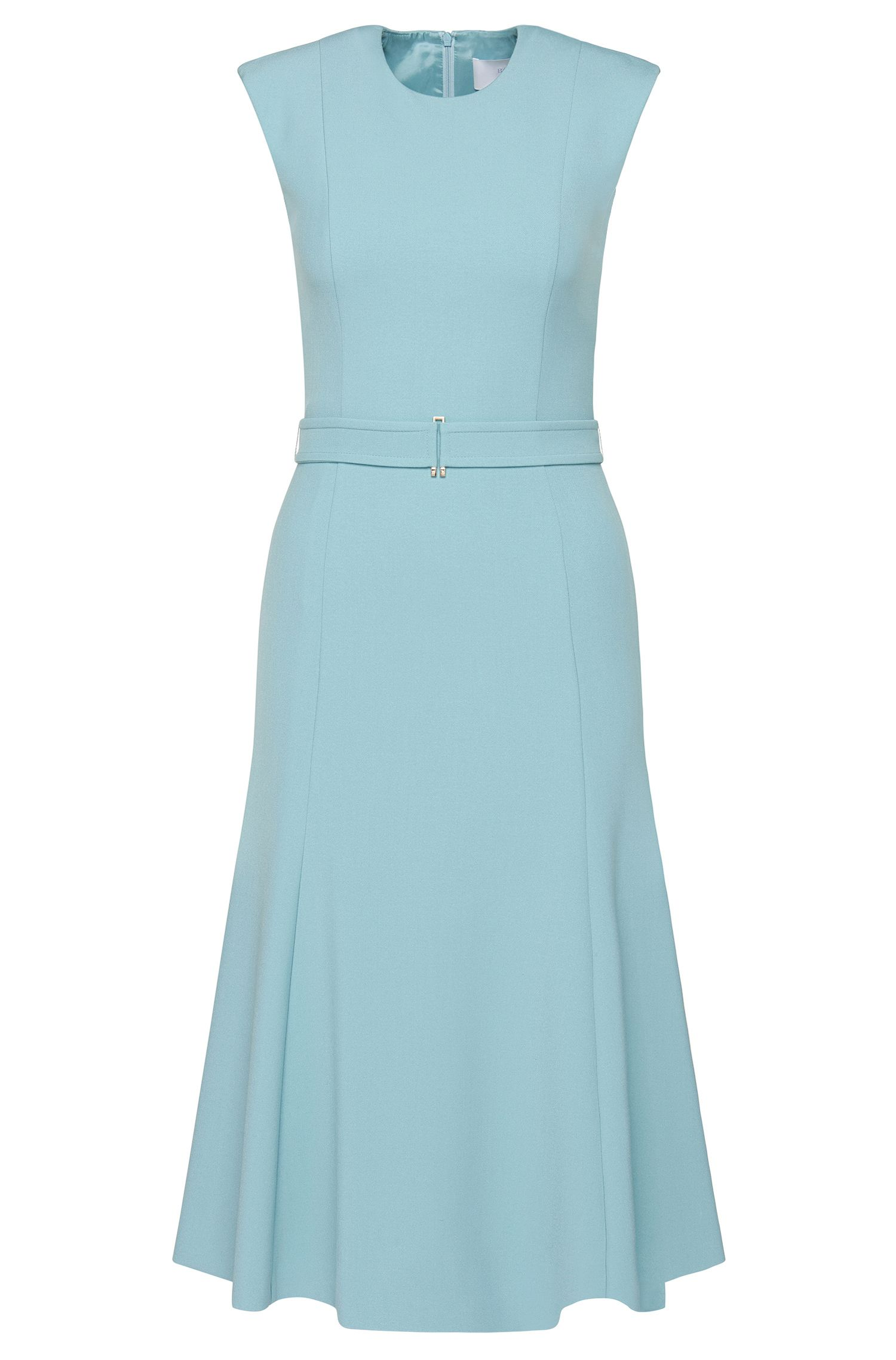 'Deletti' | Stretch Cotton Blend A-Line Belted Dress