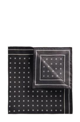'Pocket sq. cm 33x33'   Silk Patterned Pocket Square, Black