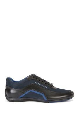 'HB Racing Lowp Itny' Calfskin Sneakers, Dark Blue