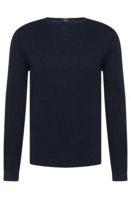 'Bocci'   Virgin Wool Cotton Colorblocked Sweater, Dark Blue