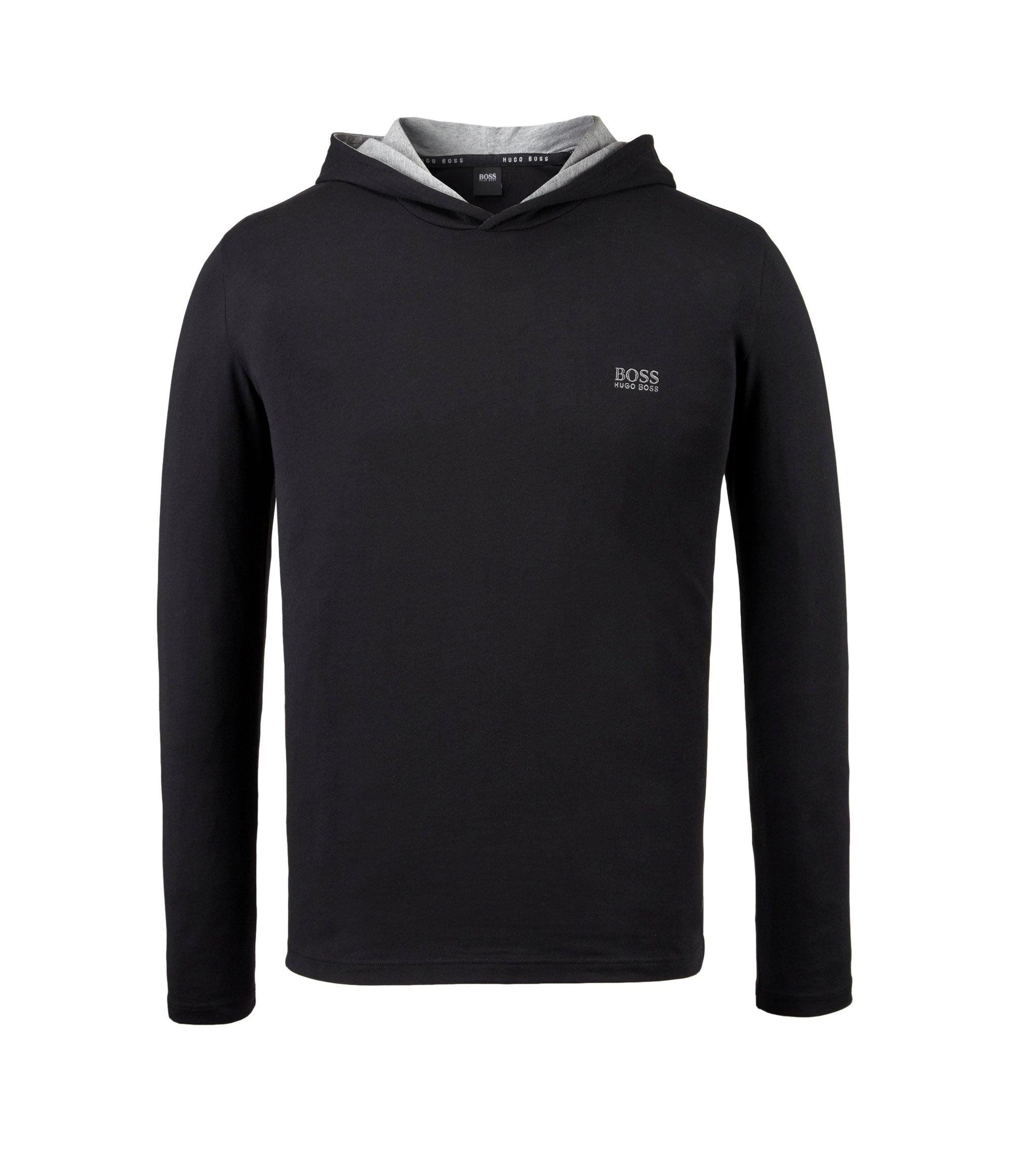Jersey Hoodie   LS Shirt Hooded, Black