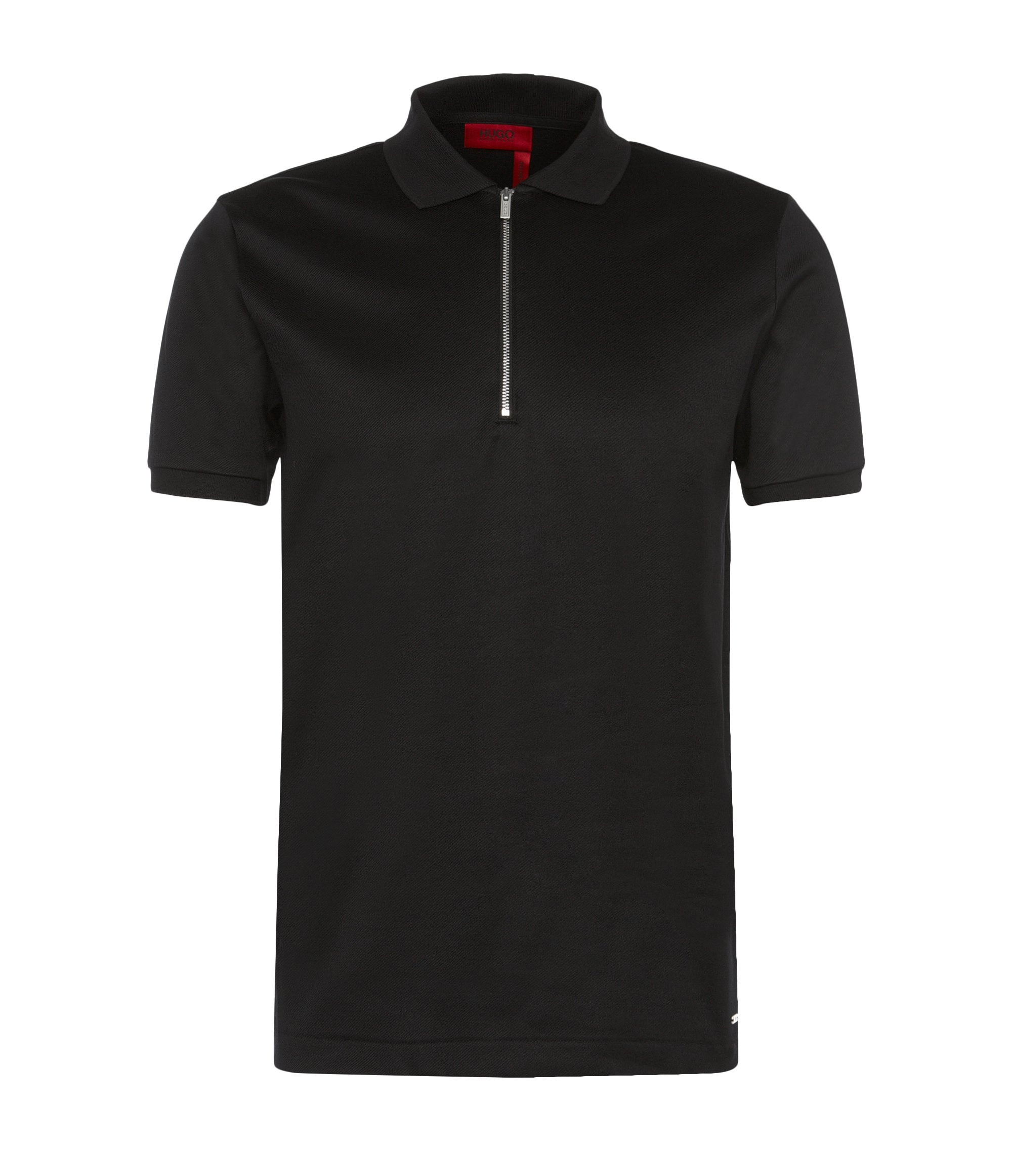 Mercerized Cotton Twill Polo Shirt, Regular Fit | Digato, Black