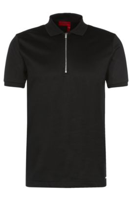 Mercerized Cotton Twill Polo Shirt, Regular Fit | Digato, Black