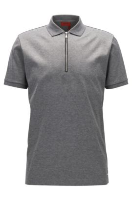 Mercerized Cotton Twill Polo Shirt, Regular Fit | Digato, Open Grey