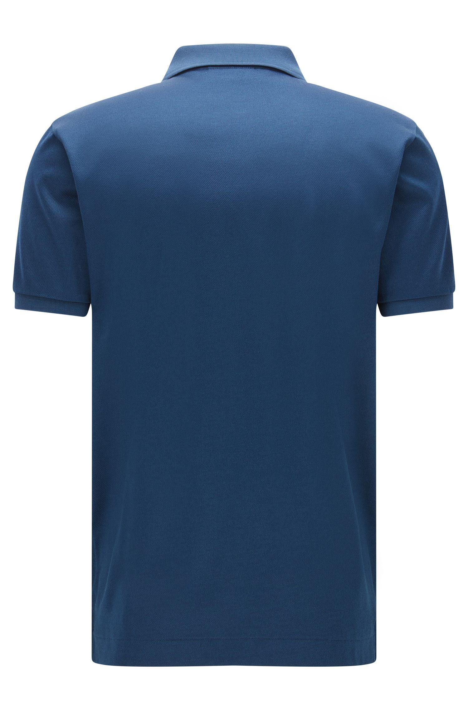 Mercerized Cotton Twill Polo Shirt, Regular Fit | Digato, Dark Blue
