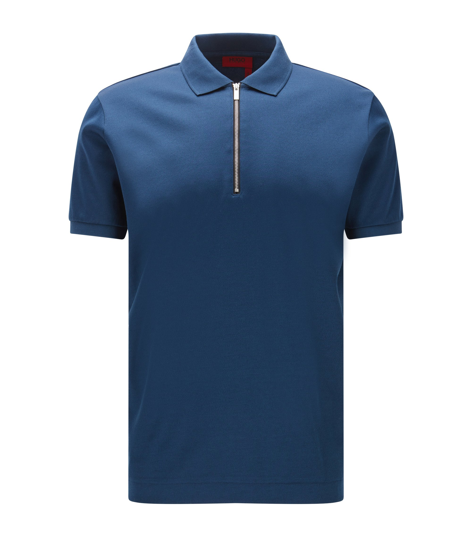 Mercerized Cotton Twill Polo Shirt, Regular Fit | Digato, Dark Blue