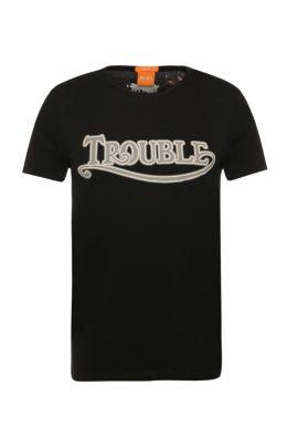 'Tebbo' | Cotton Screen Printed T-Shirt, Black