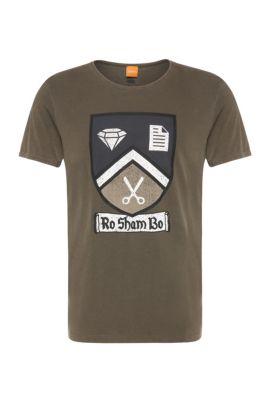 'Tebbo' | Cotton Graph T-Shirt, Dark Green