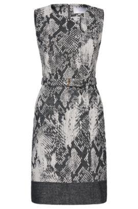 'Daneki' | Virgin Wool Cotton Blend Belted A-Line Dress, Patterned