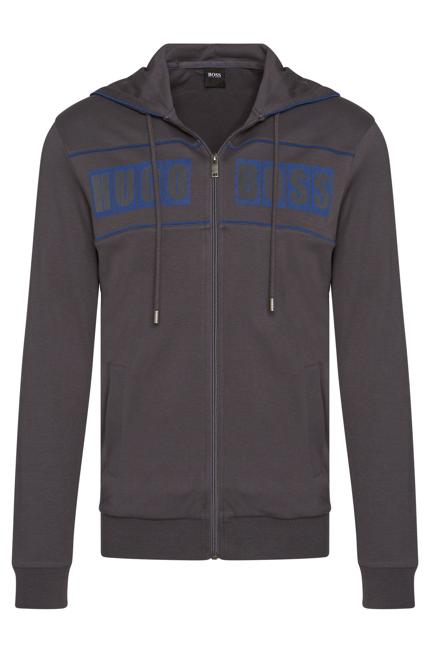 'Jacket Hooded' | Cotton Logo Sweatshirt Jacket