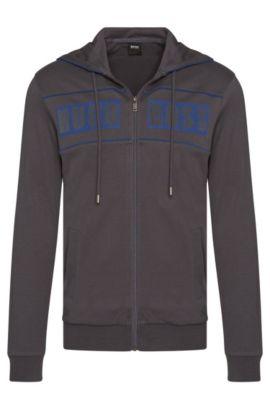 'Jacket Hooded' | Cotton Logo Sweatshirt Jacket, Charcoal