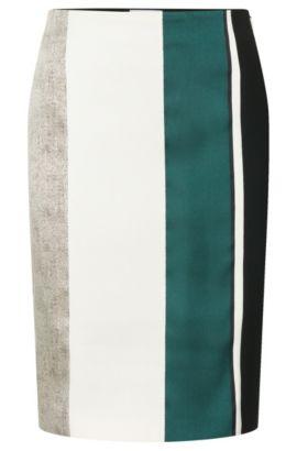 'Vastrina' | Cotton Blend Striped Straight Skirt, Patterned