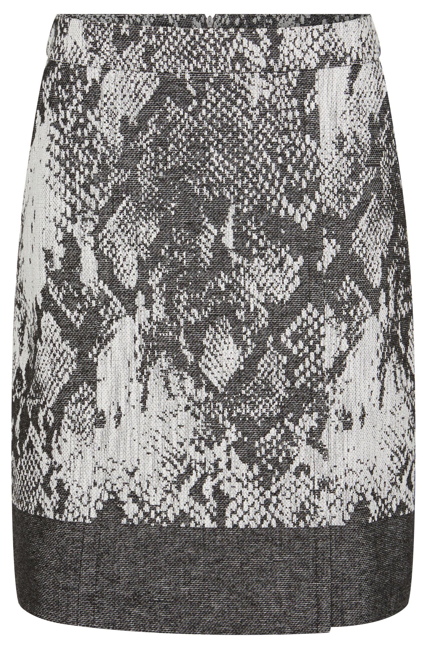 'Vaneki' | Cotton Virgin Wool Blend Straight Skirt