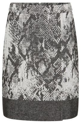 'Vaneki' | Cotton Virgin Wool Blend Straight Skirt, Patterned