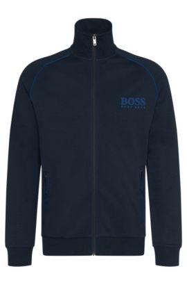 'Jacket Zip'   Cotton Blend Contrast Piping Zip Jacket, Dark Blue