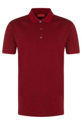 'Dinello' | Slim Fit, Cotton Jacquard Polo Shirt, Dark Red