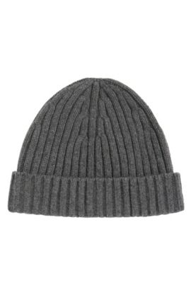 'T-Benzo' | Cashmere Wool Ribbed Beanie Cap, Grey