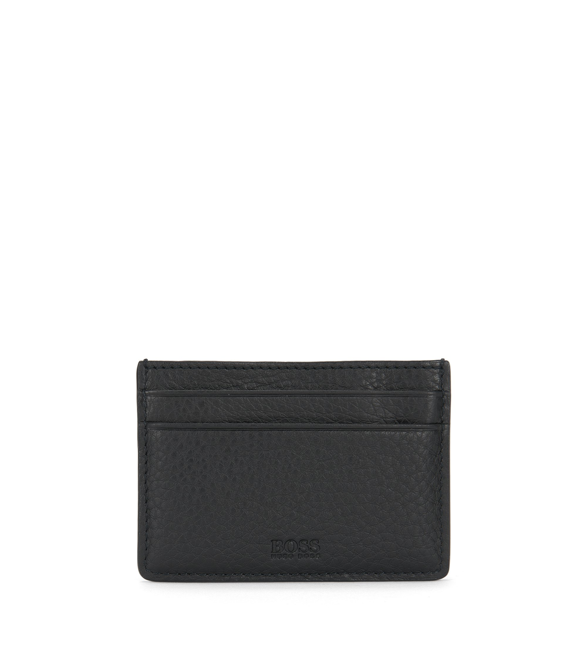 'Traveler Money Clip' | Leather Grained Card Case With Money Clip, Black