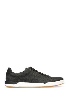 'Stillness Tenn Tw' | Tweed Leather Sneakers, Black