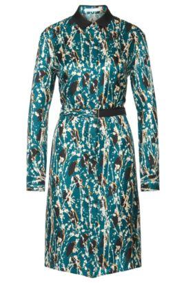 'Daweni' | Silk Patterned Belted Shirt Dress, Patterned