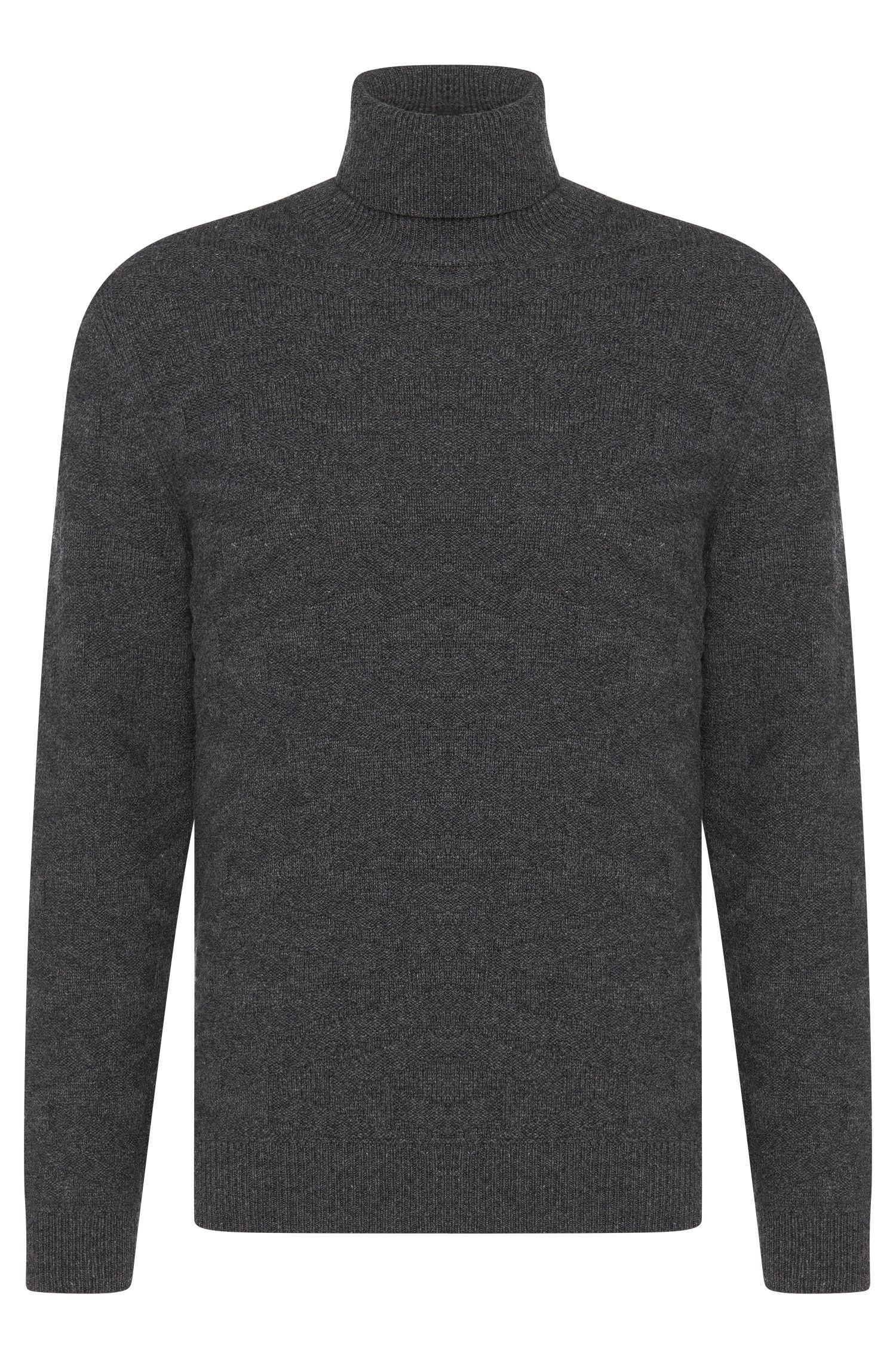 'Bertuzzi' | Virgin Wool Cashmere Jacquard Pattern Turtleneck