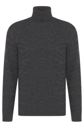 'Bertuzzi' | Virgin Wool Cashmere Jacquard Pattern Turtleneck, Grey