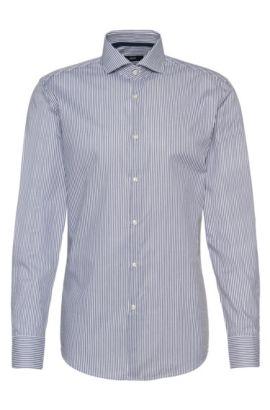 Striped Cotton Dress Shirt, Slim Fit | Jery, Dark Blue