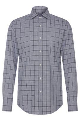 Plaid Italian Stretch Cotton Dress Shirt, Slim Fit | Jason, Dark Blue