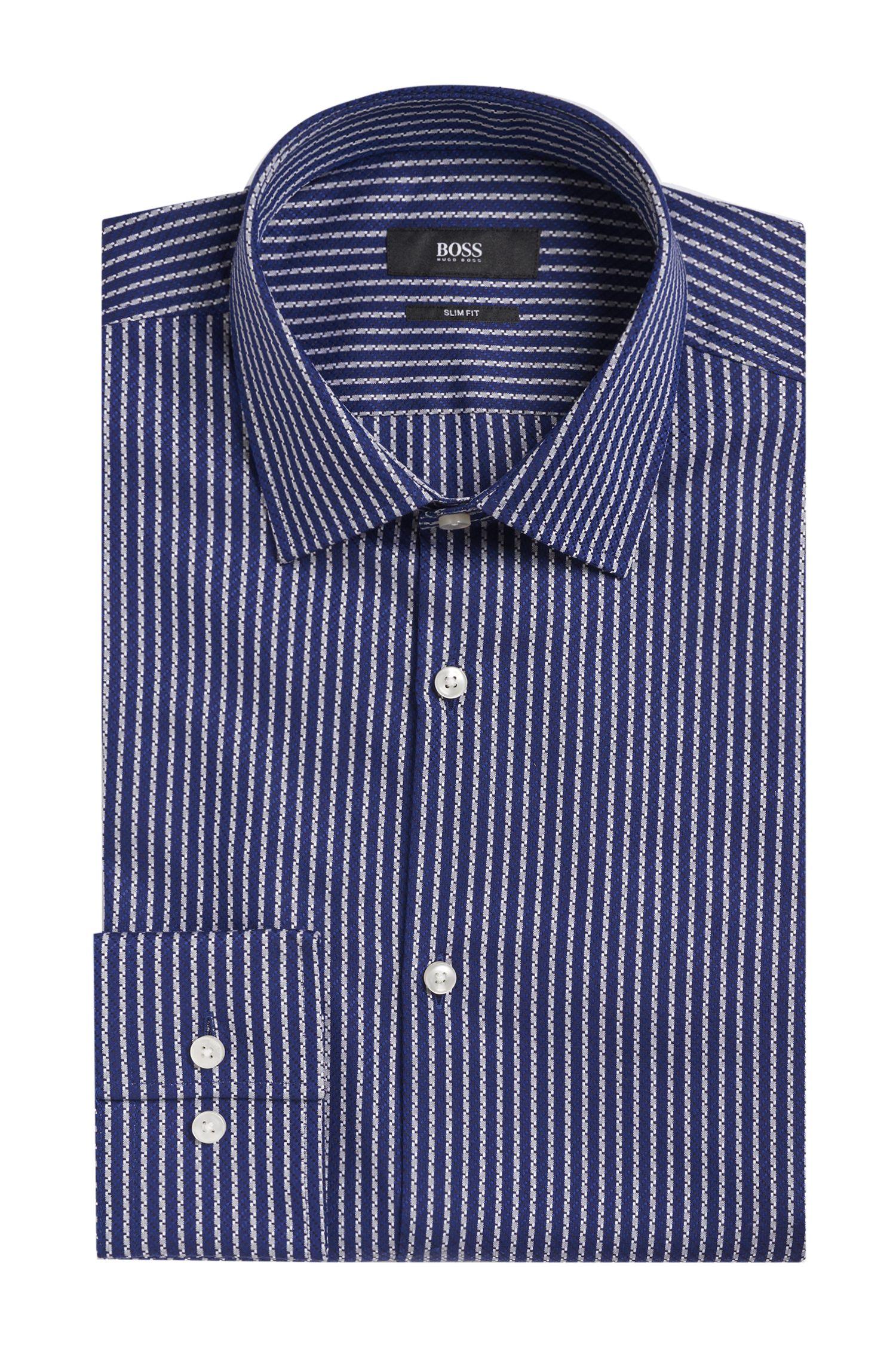 Striped Italian Cotton Dress Shirt, Slim Fit | Jenno