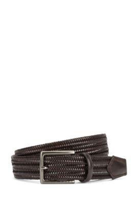 'Semyo Sz35 Mxwn' | Leather Handcrafted Braided Belt, Dark Brown
