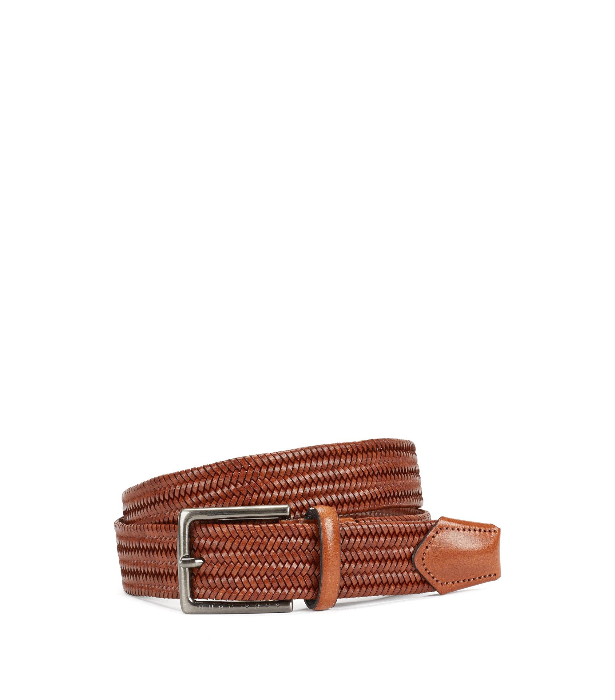 Leather Handcrafted Braided Belt | Semyo Sz35 Mxwn, Brown