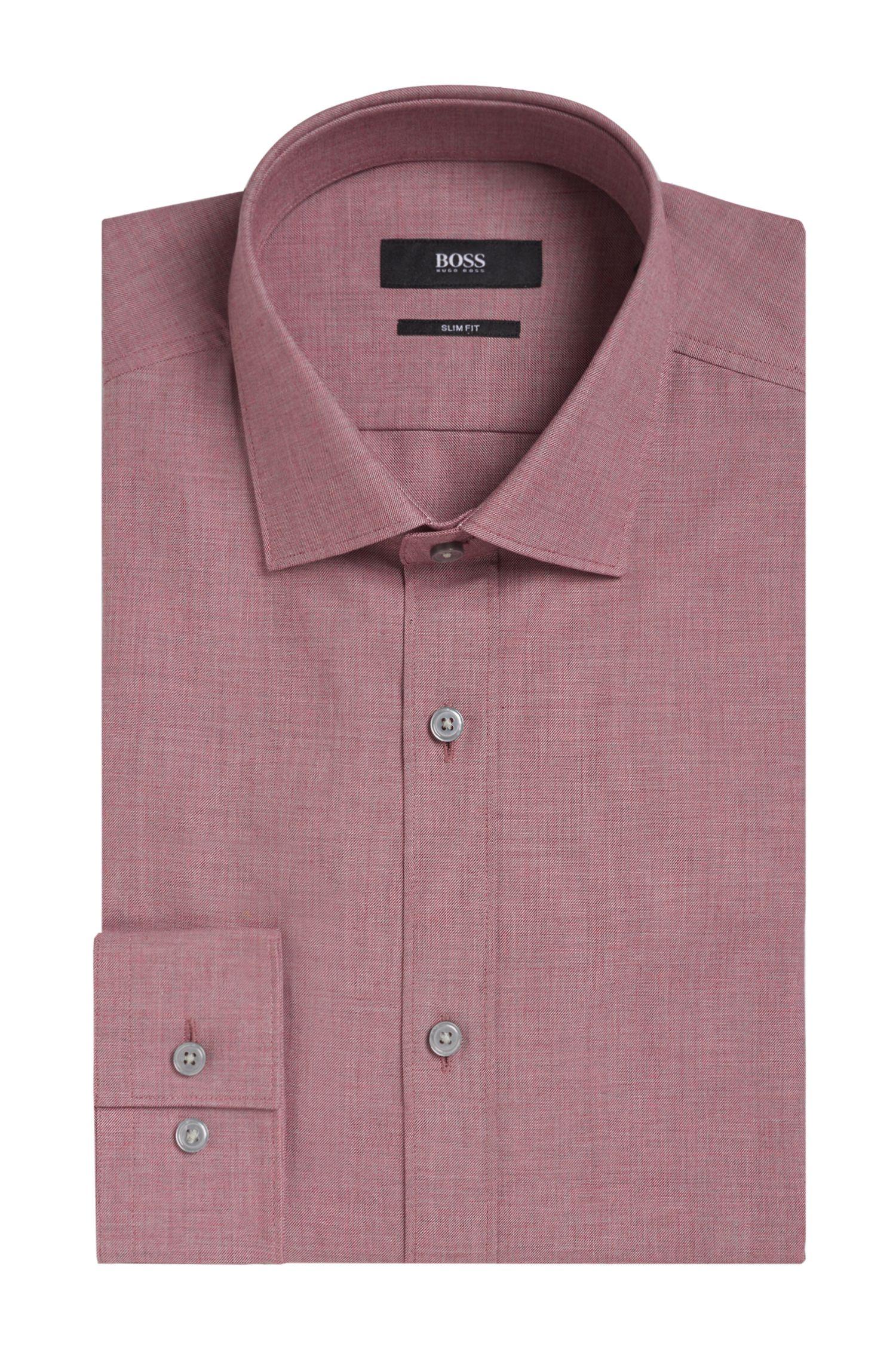 Yarn-Dyed Cotton Dress Shirt, Slim Fit   Isaak