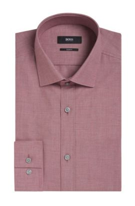 Yarn-Dyed Cotton Dress Shirt, Slim Fit   Isaak, Red